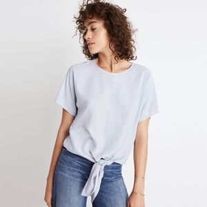 Madewell Blue Button Back Tee in Stripe